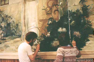 Art & mother repairing Emilio Fernandez's Christ at Heart's Door, oil on canvas