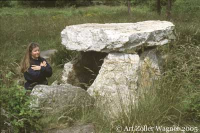 JoAnne next to a dolmen in Asturias